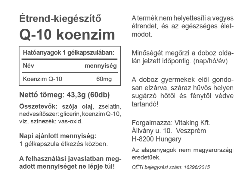 """Képtalálat a következőre: """"Q10 Koenzim 60mg – Vitaking"""""""