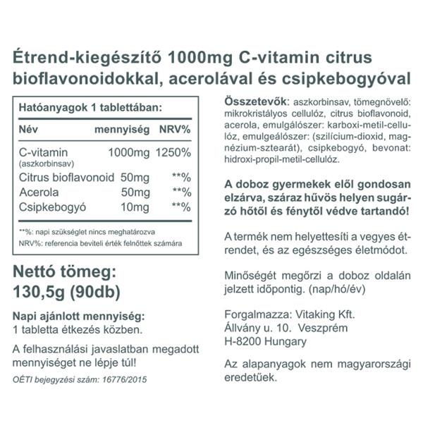 """Képtalálat a következőre: """"C-vitamin 1000mg Biof. – Vitaking (90)"""""""