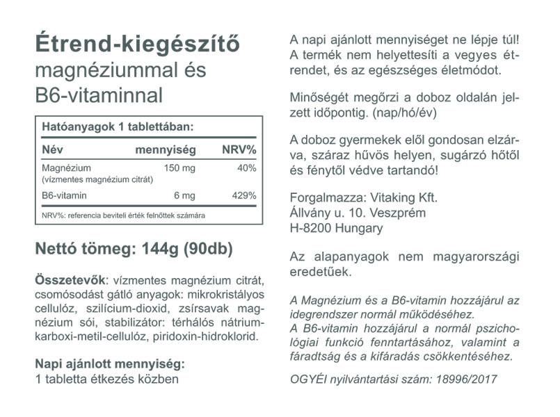 """Képtalálat a következőre: """"Magnézium citrát+B6 vitamin – Vitaking (90)"""""""