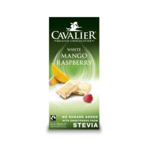 Belga fehércsokoládé málna és mangó darabokkal 85g (Cavalier)