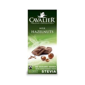 Belga tejcsokoládé törökmogyoró darabokkal, cukor nélkül 85g (Cavalier)